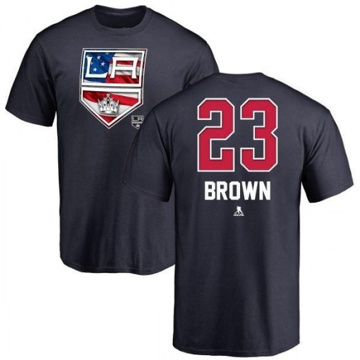 Dustin Brown Los Angeles Kings Men's Brown Name and Number Banner Wave T-Shirt - Navy